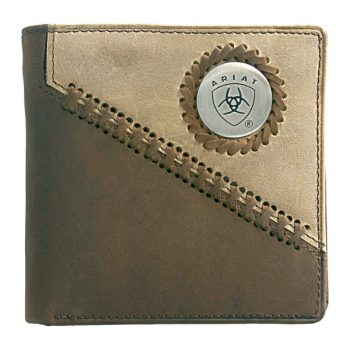 Wallet, Ariat, Bi-Fold, Diagonal Lacing