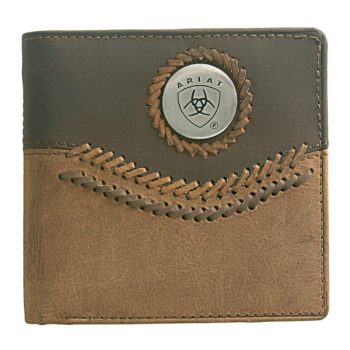 Wallet, Ariat, Bi-Fold, Curved Lacing