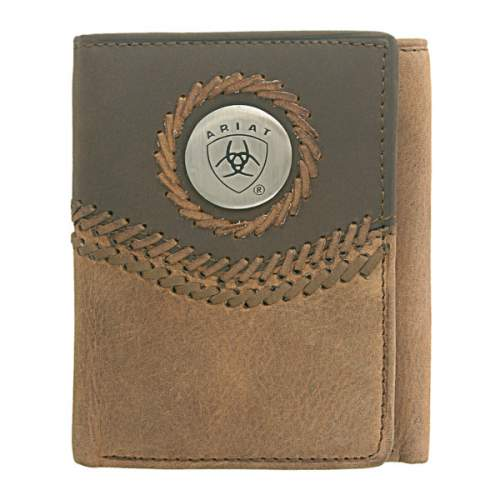 Wallet, Ariat, Tri-Fold, Curved Lacing