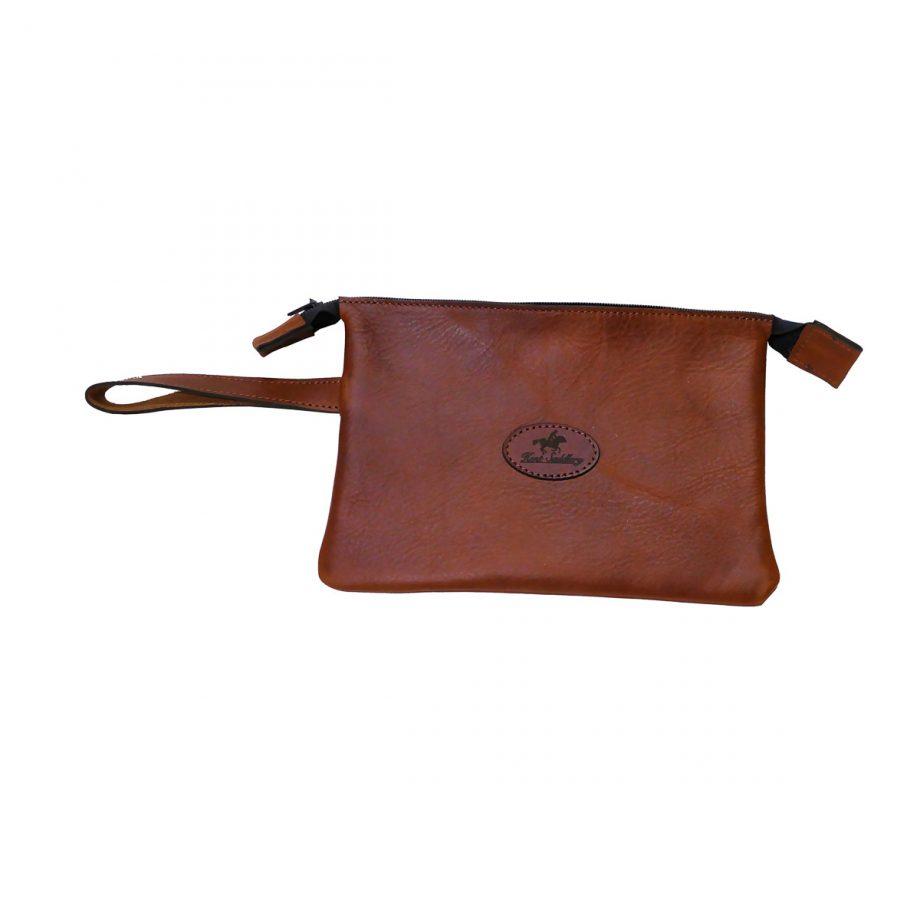 Purse, Heritage, Wristlet Clutch, Leather, Brown