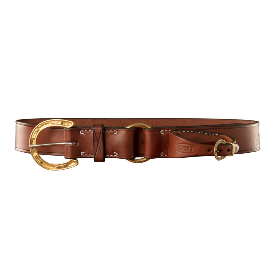 Stockmans Belt, Solid Leather, with Brass Horseshoe Buckle, Ring and Pouch for Pocket Knife 1