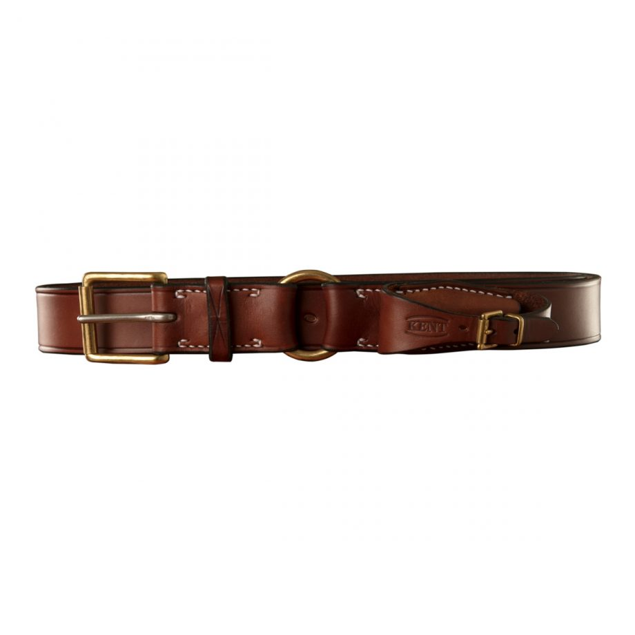 Stockmans Belt, Solid Leather, with Brass Roller Buckle, Ring and Pouch for Pocket Knife 1
