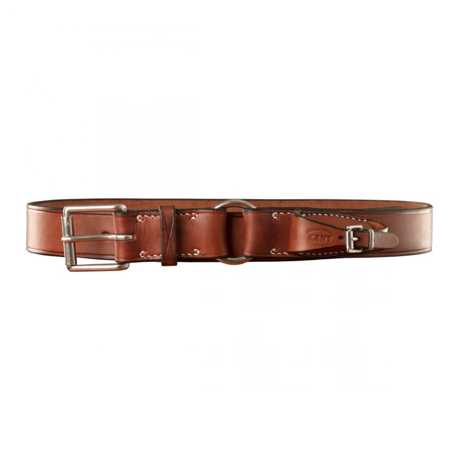 Stockmans Belt, Solid Leather, with Stainless Steel Roller Buckle, Ring and Pouch for Pocket Knife 1