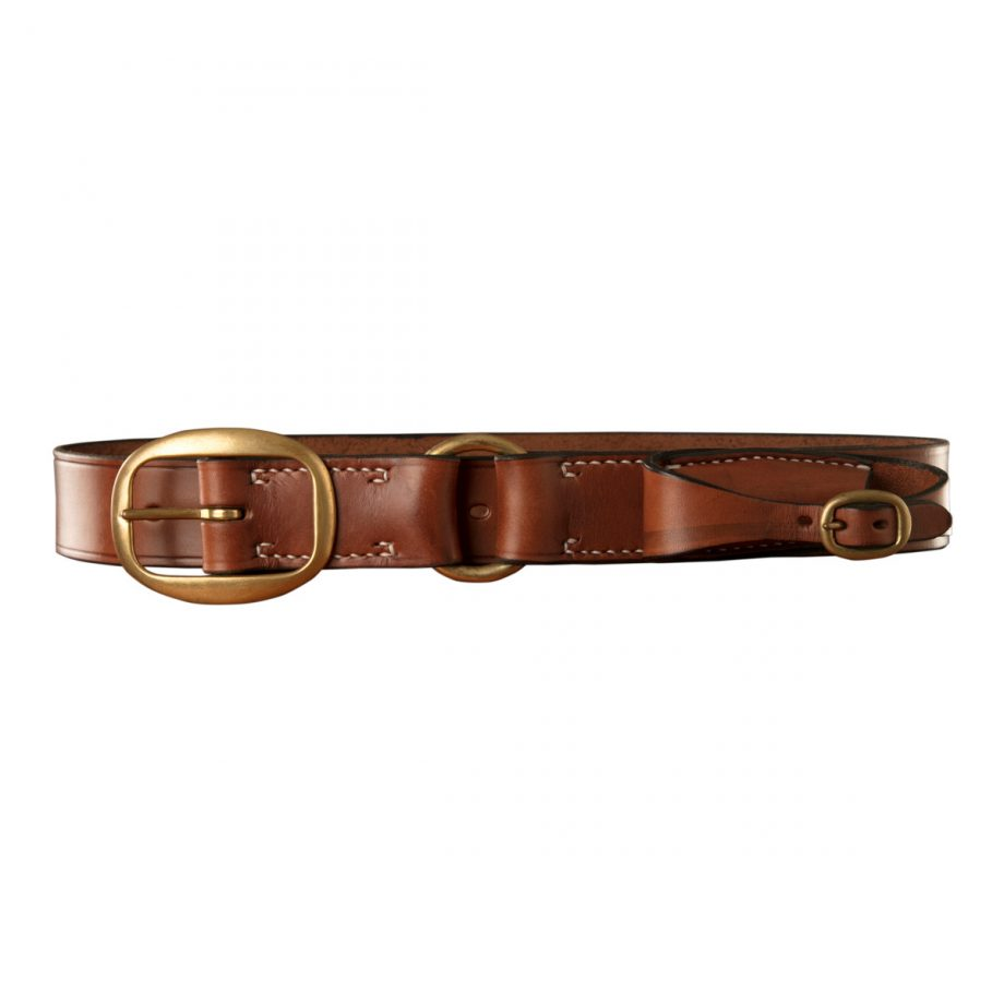Stockmans Belt, Solid Leather, with Brass Swage Buckle, Ring and Pouch for Pocket Knife 1