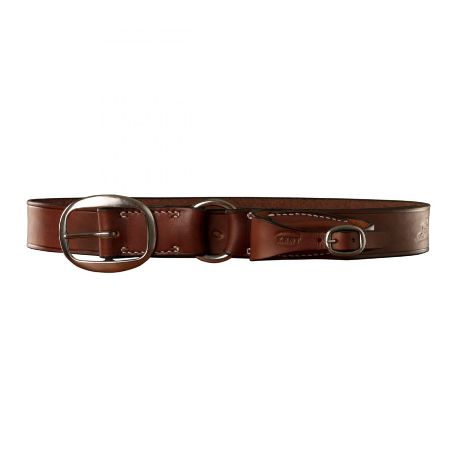 Stockmans Belt, Solid Leather, with Stainless Steel Swage Buckle, Ring and Pouch for Pocket Knife 1