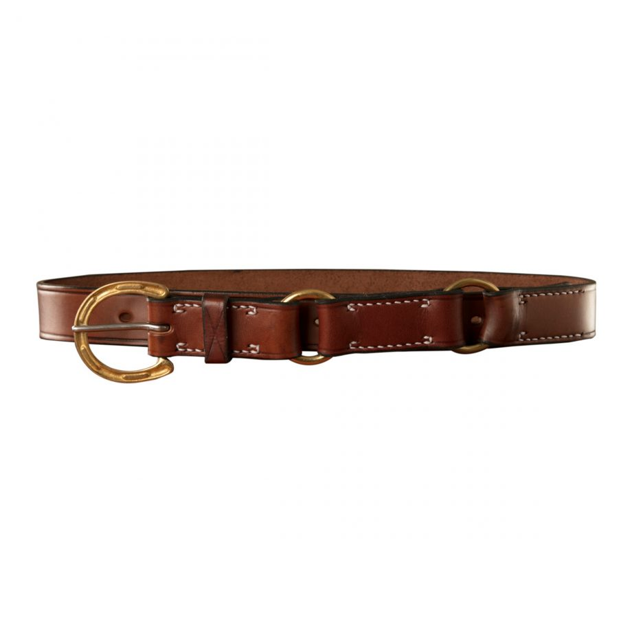 Stockmans Hobble Style Belt, Solid Leather, Brass Horseshoe Buckle and 2 Rings 1