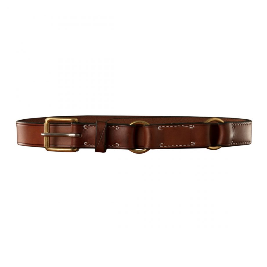 Stockmans Hobble Style Belt, Solid Leather, Brass Roller Buckle and 2 Rings 1