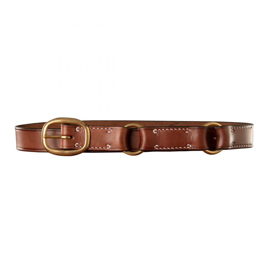 Stockmans Hobble Style Belt, Solid Leather, Brass Swage Buckle and 2 Rings 1