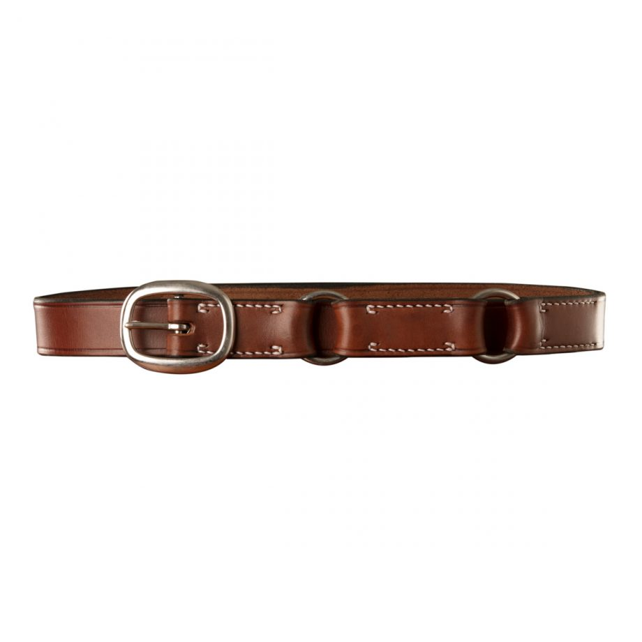 Stockmans Hobble Style Belt, Solid Leather, Stainless Steel Swage Buckle and 2 Rings 1