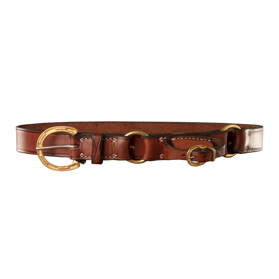 Stockmans Hobble Style Belt, Solid Leather, with Brass Horseshoe Buckle, 2 Rings and Pouch for Pocket Knife 1
