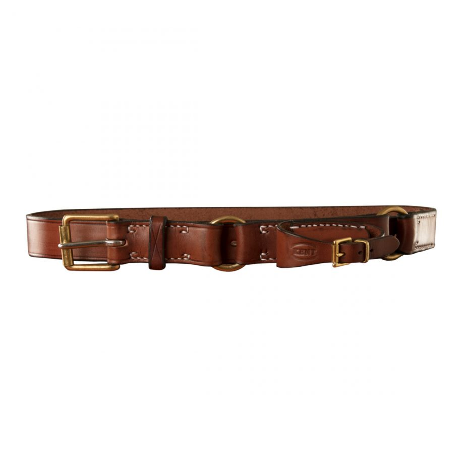 Stockmans Hobble Style Belt, Solid Leather, with Brass Roller Buckle, 2 Rings and Pouch for Pocket Knife 1