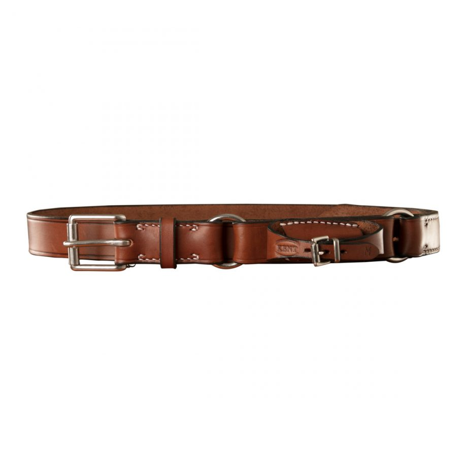 Stockmans Hobble Style Belt, Solid Leather, with Stainless Steel Roller Buckle, 2 Rings and Pouch for Pocket Knife 1