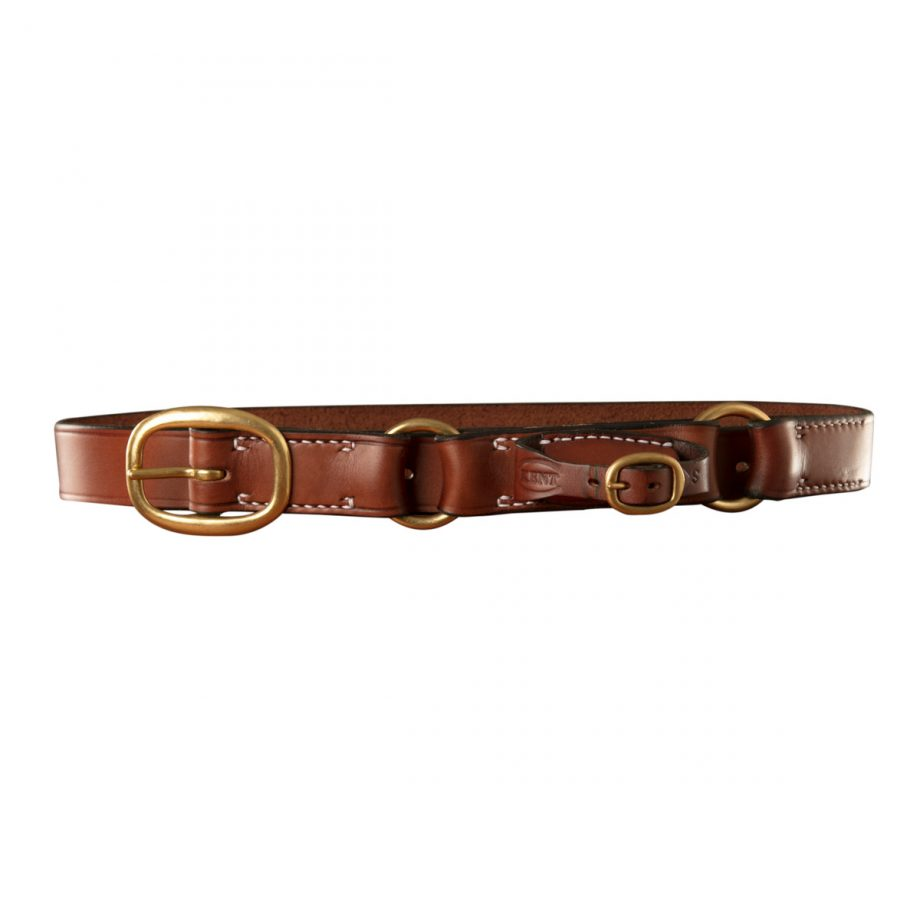 Stockmans Hobble Style Belt, Solid Leather, with Brass Swage Buckle, 2 Rings and Pouch for Pocket Knife 1