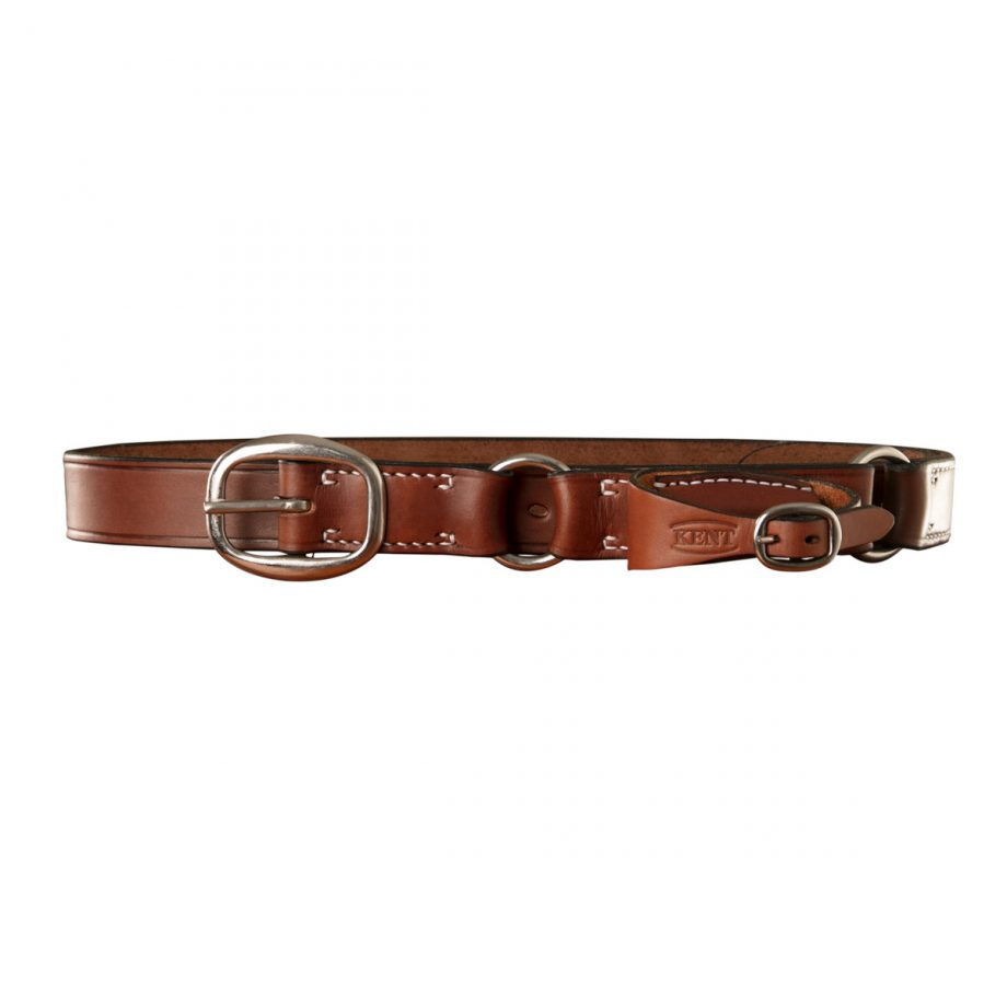 Stockmans Hobble Style Belt, Solid Leather, with Stainless Steel Swage Buckle, 2 Rings and Pouch for Pocket Knife 1