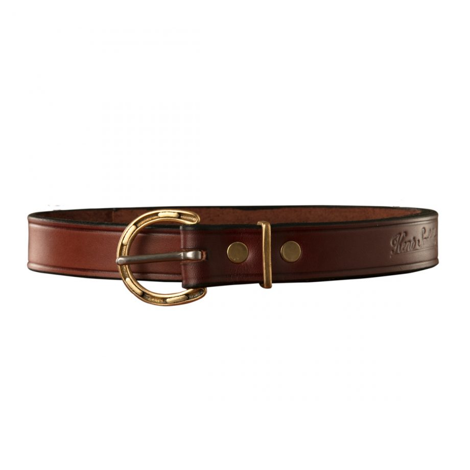 "1"" (25mm) Kids Solid Leather Belt with Brass Horseshoe Buckle 1"