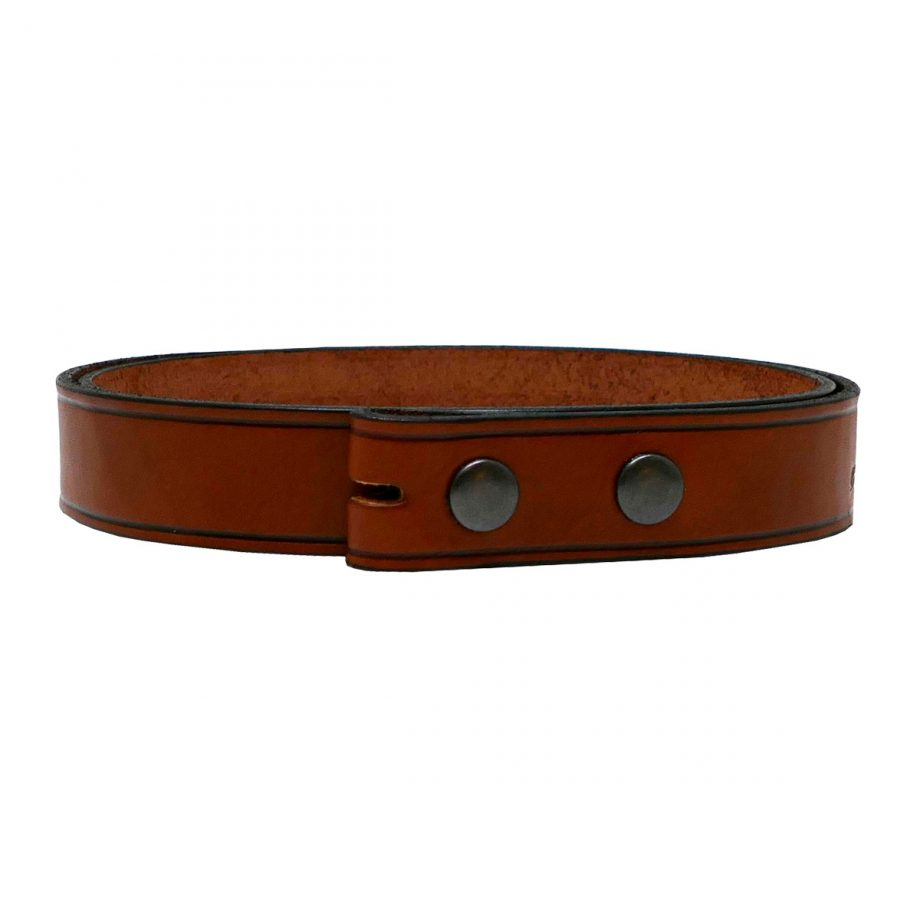 Strap for Trophy Buckle, Brown Leather, with Antique Brass Press Studs 1
