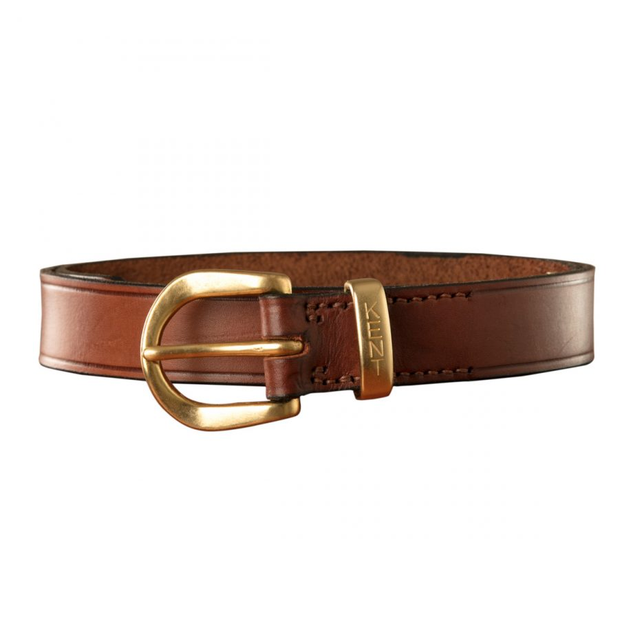 Dress Belt, Brown Leather, with English Style Brass Buckle and Kent Keeper 1